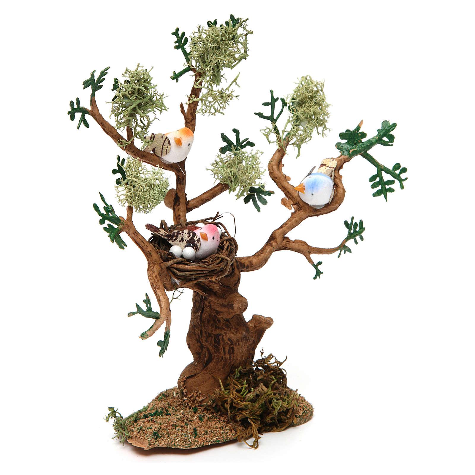 Drzewo z ptakami h rzeczywista 16 cm do szopki 4