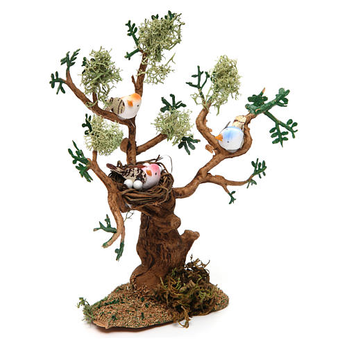 Drzewo z ptakami h rzeczywista 16 cm do szopki 2