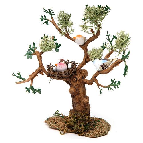 Drzewo z ptakami h rzeczywista 16 cm do szopki 3
