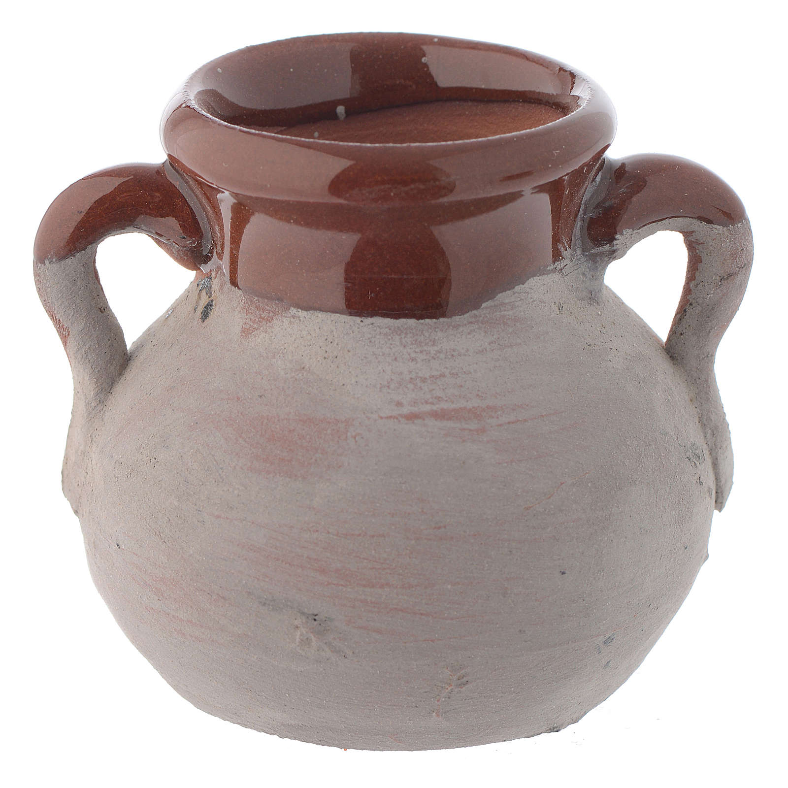 Pentola rustica ceramica h reale 4 cm presepe 4