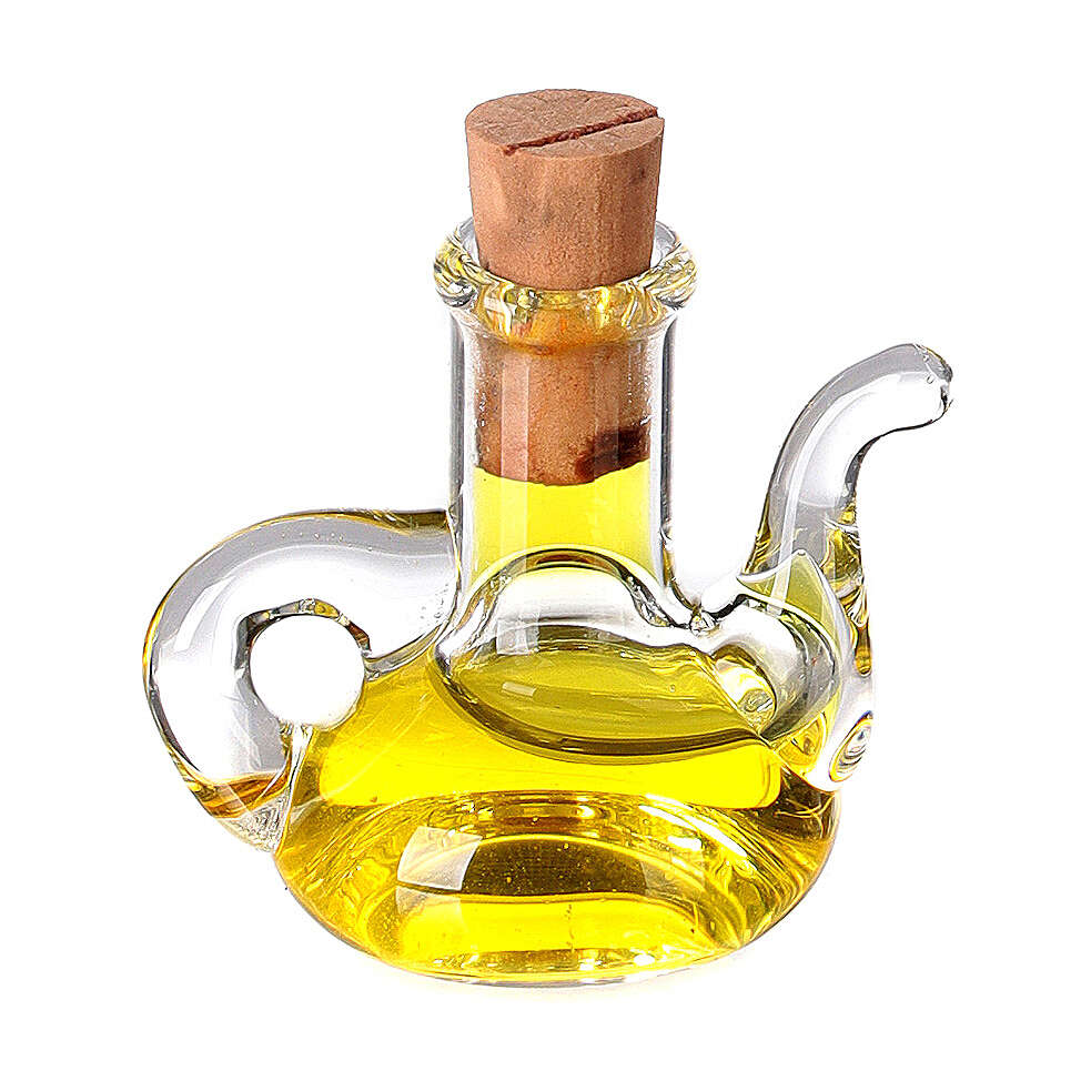 Botella aceite oliva cristal miniatura 2.5 cm pesebre 4