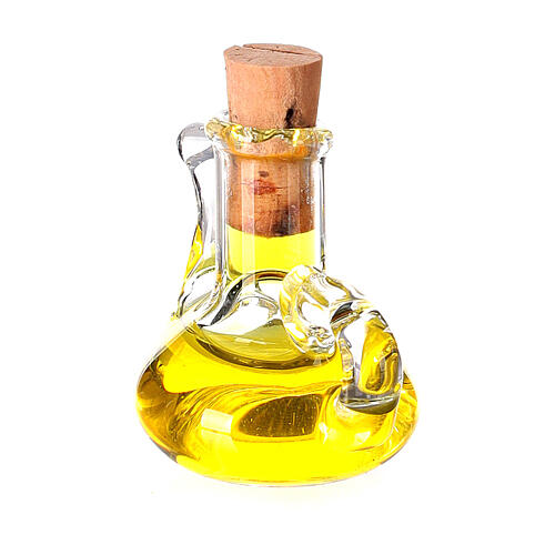 Botella aceite oliva cristal miniatura 2.5 cm pesebre 3