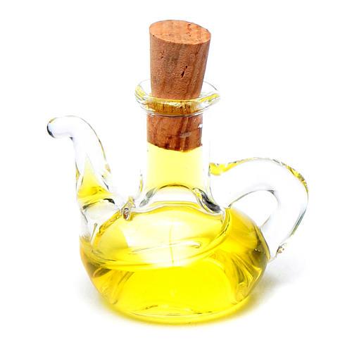 Bottiglia olio oliva cristallo miniatura presepe h reale 2,5 cm 1