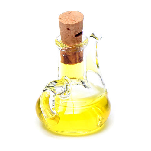 Bottiglia olio oliva cristallo miniatura presepe h reale 2,5 cm 2