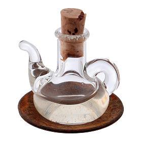 Acessórios de Casa para Presépio: Garrafa azeite cristal miniatura presépio h real 2,5 cm