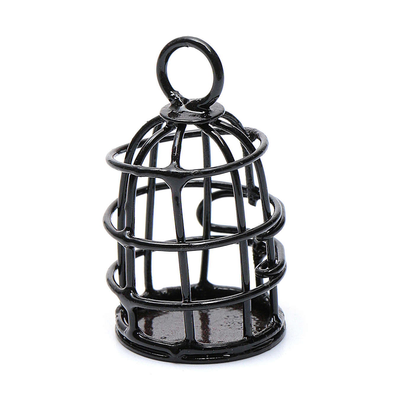 Metal bird cage sized 4 cm for nativity scene 4