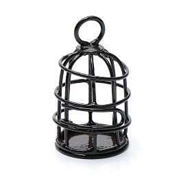 Metal bird cage sized 4 cm for nativity scene s2