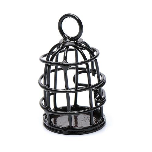 Metal bird cage sized 4 cm for nativity scene 1