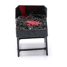 Accessoires maison en miniature: Barbecue métal crèche h réelle 3 cm