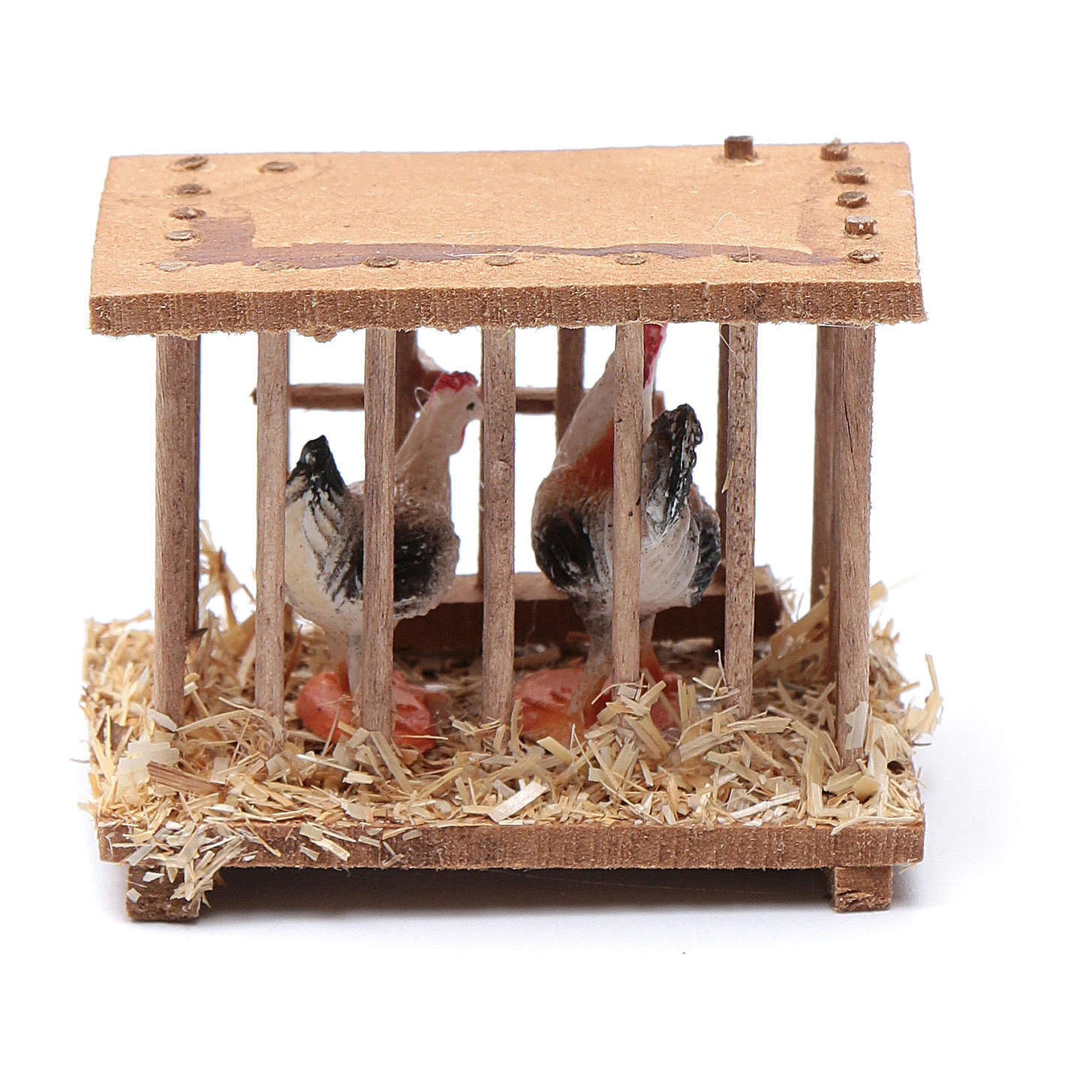 Nativity scene wooden cage 5x5x3 cm 4
