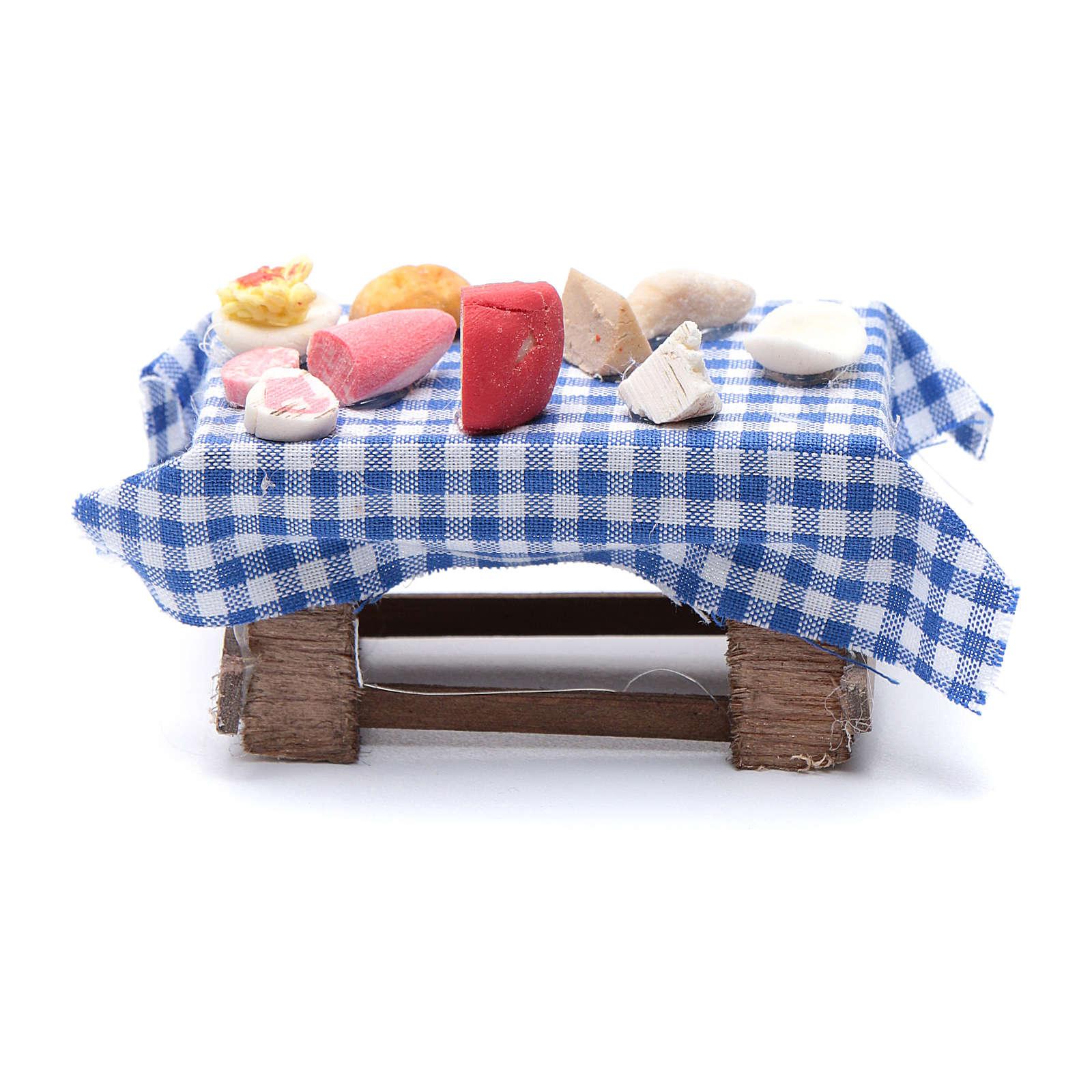 Mesa preparada con comida  pesebre napolitano 7 cm 4