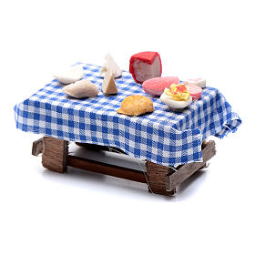 Mesa preparada con comida  pesebre napolitano 7 cm s2