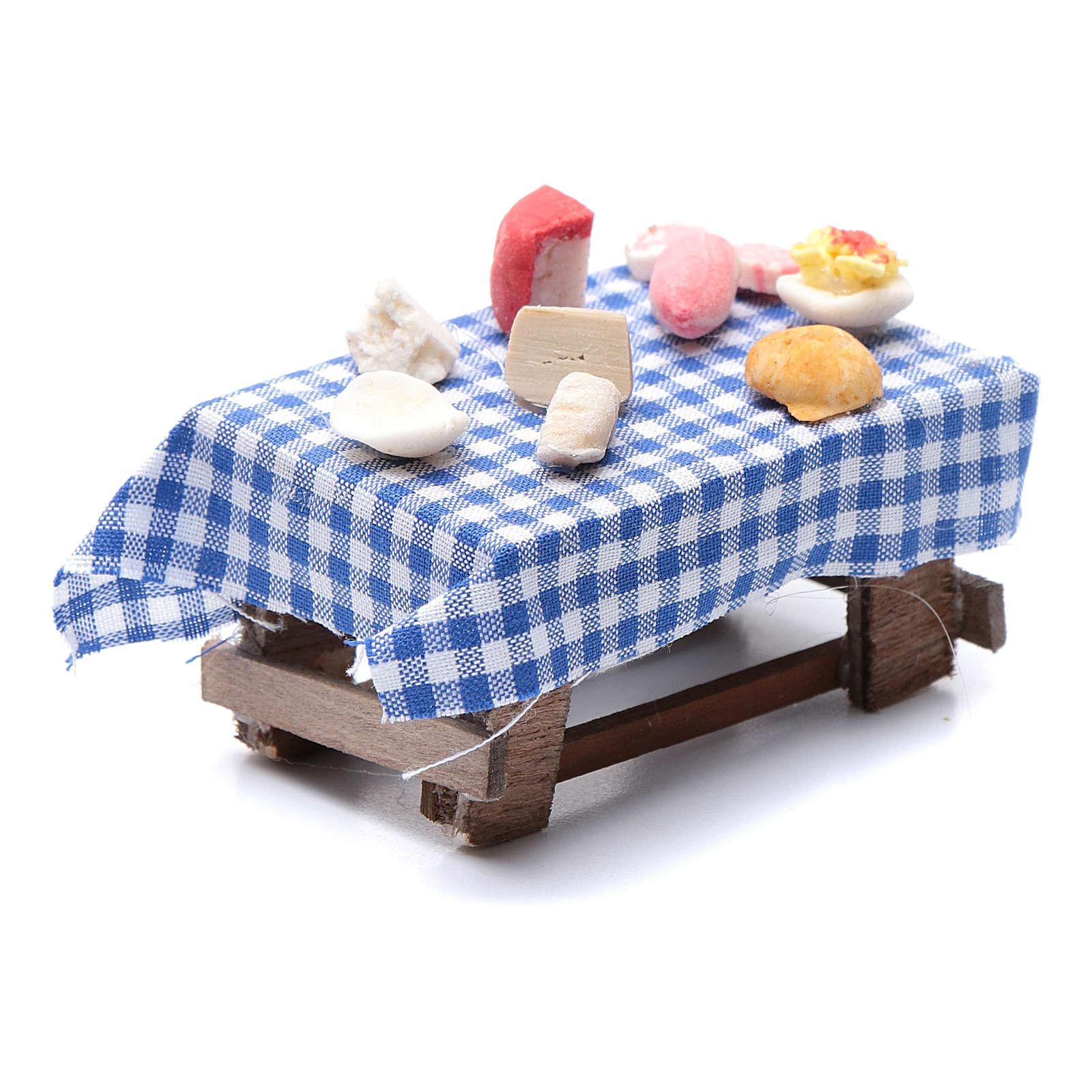 Table dressée formes de nourriture 6x6,x6x4 cm crèche napolitaine 4