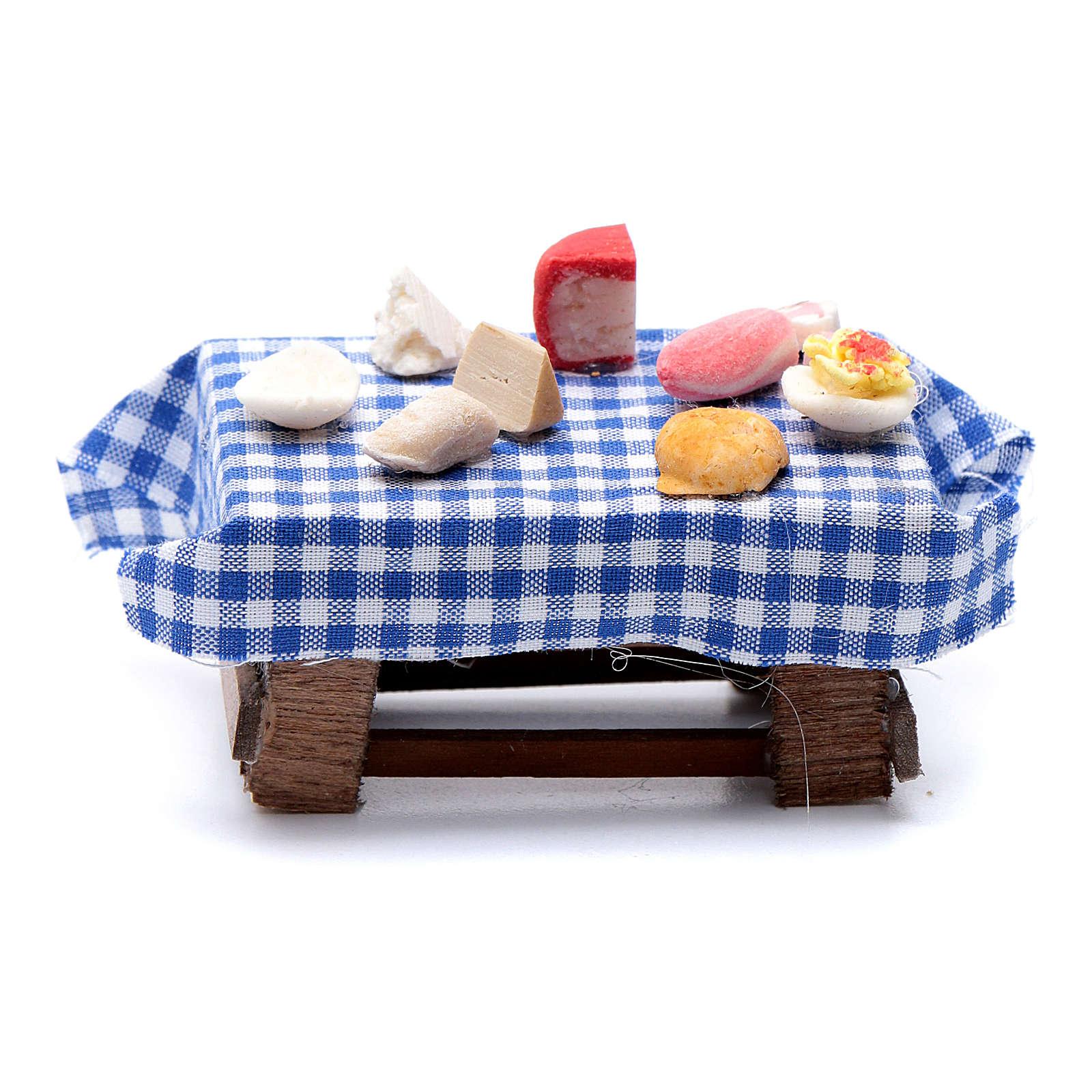 Tavolo imbandito forme di cibo 5x5,5X5 cm presepe napoletano 4