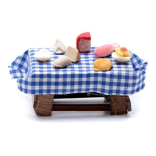 Tavolo imbandito forme di cibo 5x5,5X5 cm presepe napoletano 1