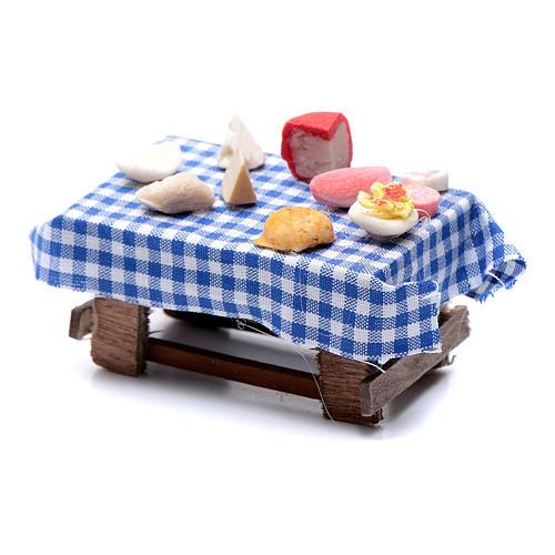 Tavolo imbandito forme di cibo 5x5,5X5 cm presepe napoletano 2