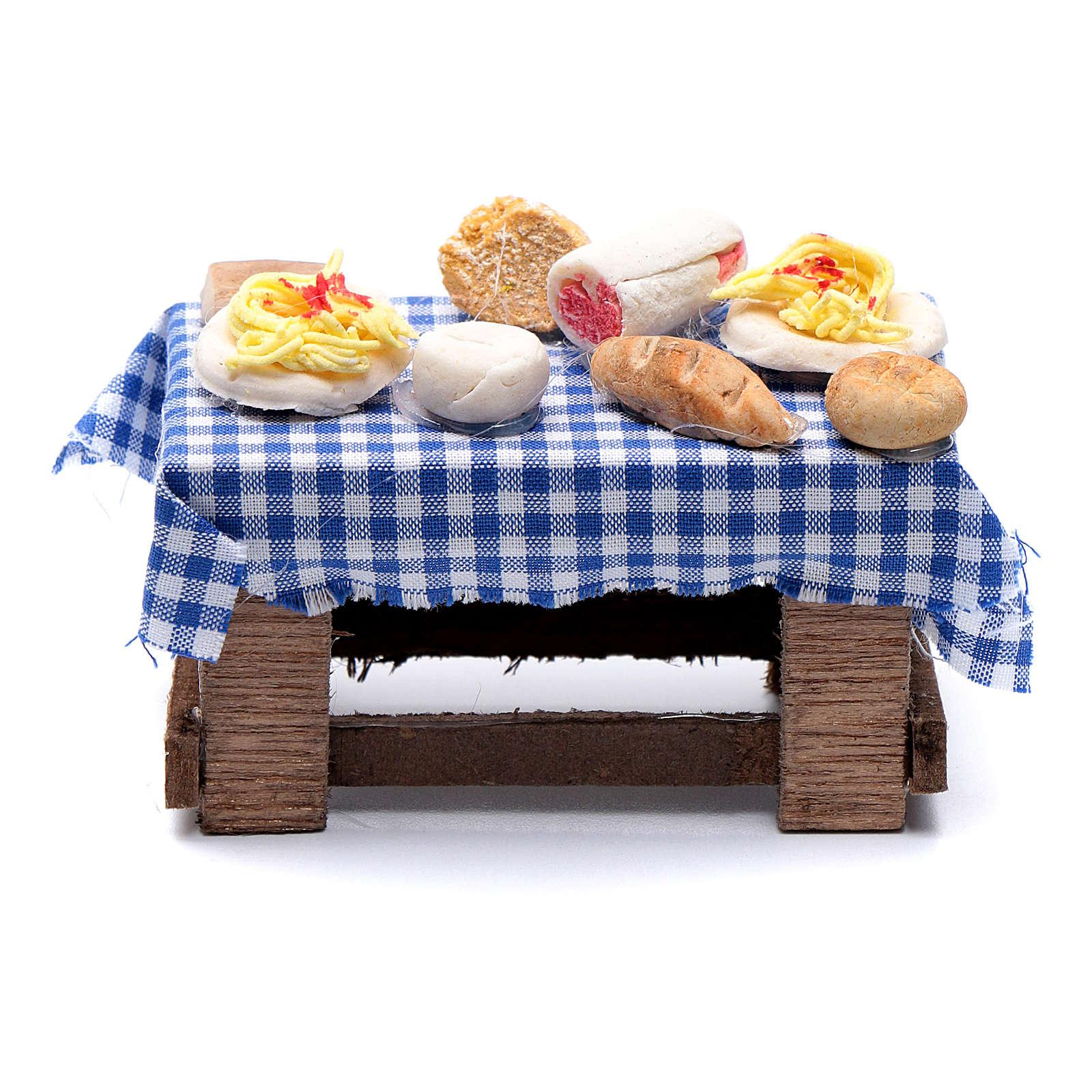 Mesa con comida 5x10x5 cm belén napolitano Hecho por Tí 4