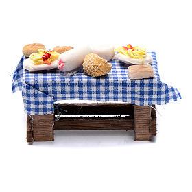 Table avec formes de nourriture crèche napolitaine 6x8,4x4,2 cm s1