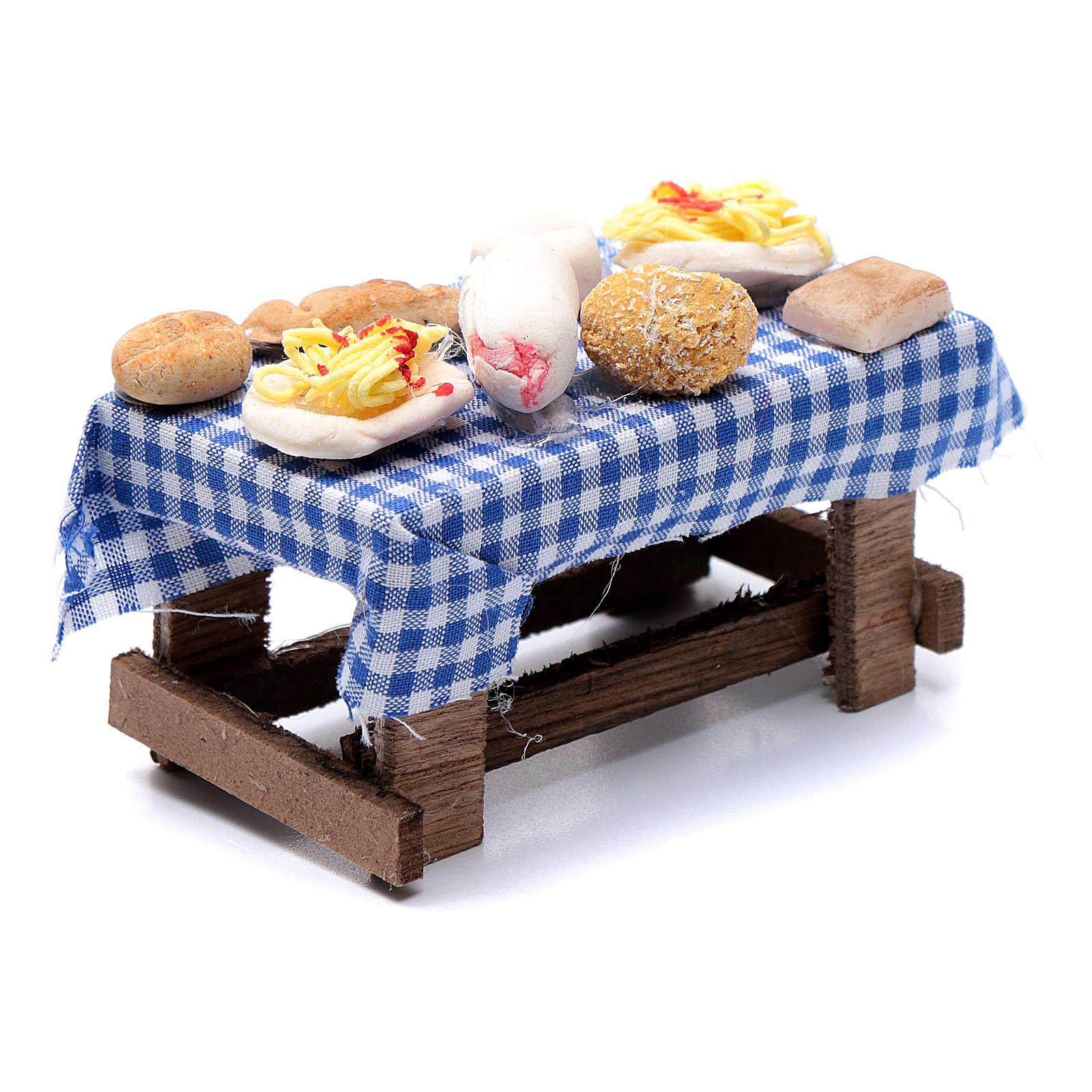 Tavolo con forme di cibo presepe napoletano 5x10x5 cm 4