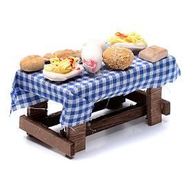 Tavolo con forme di cibo presepe napoletano 5x10x5 cm s3