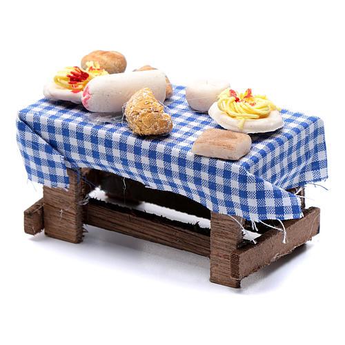Tavolo con forme di cibo presepe napoletano 5x10x5 cm 2