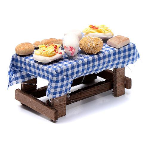 Tavolo con forme di cibo presepe napoletano 5x10x5 cm 3