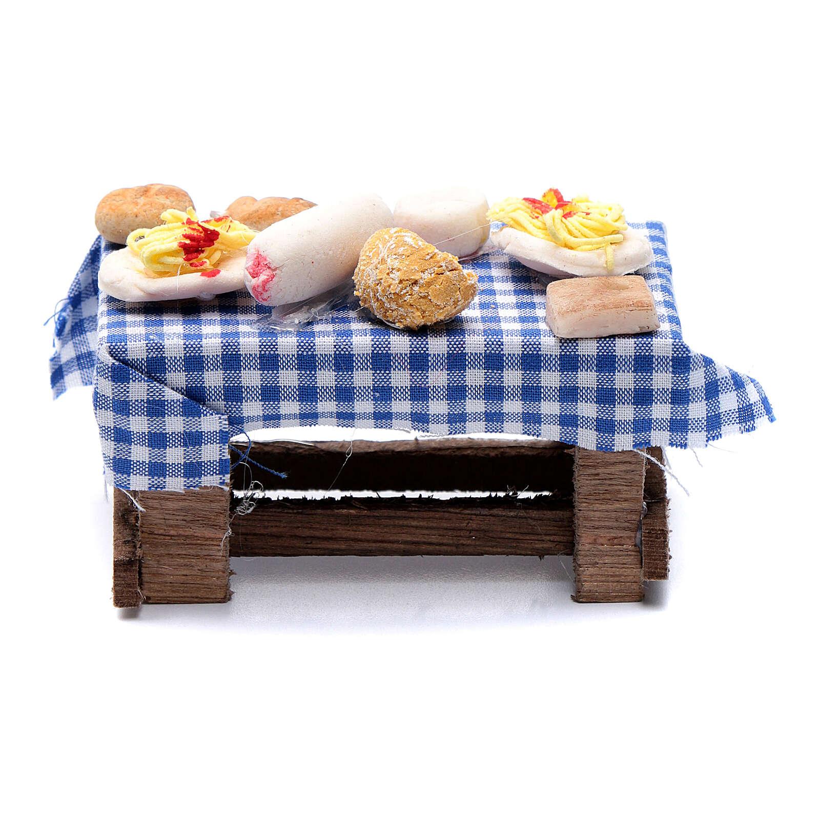 Mesa com comida presépio napolitano 5x10x5 cm 4