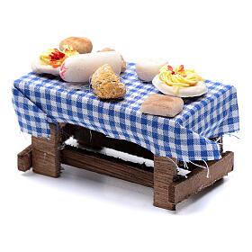 Mesa com comida presépio napolitano 5x10x5 cm s2