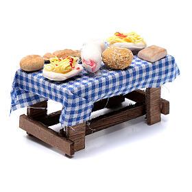 Mesa com comida presépio napolitano 5x10x5 cm s3