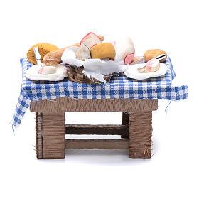 Mesa con quesos y carne 10x10x5 cm pesebre napolitano s1