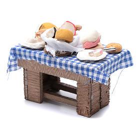 Mesa con quesos y carne 10x10x5 cm pesebre napolitano s2