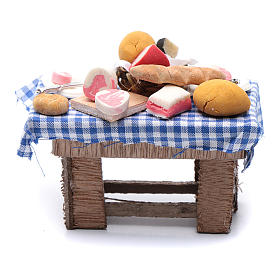 Mesa con quesos y carne 10x10x5 cm pesebre napolitano s4