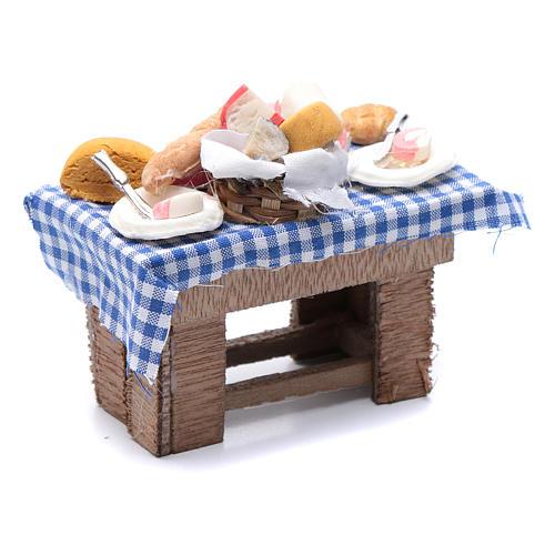 Mesa con quesos y carne 10x10x5 cm pesebre napolitano 3