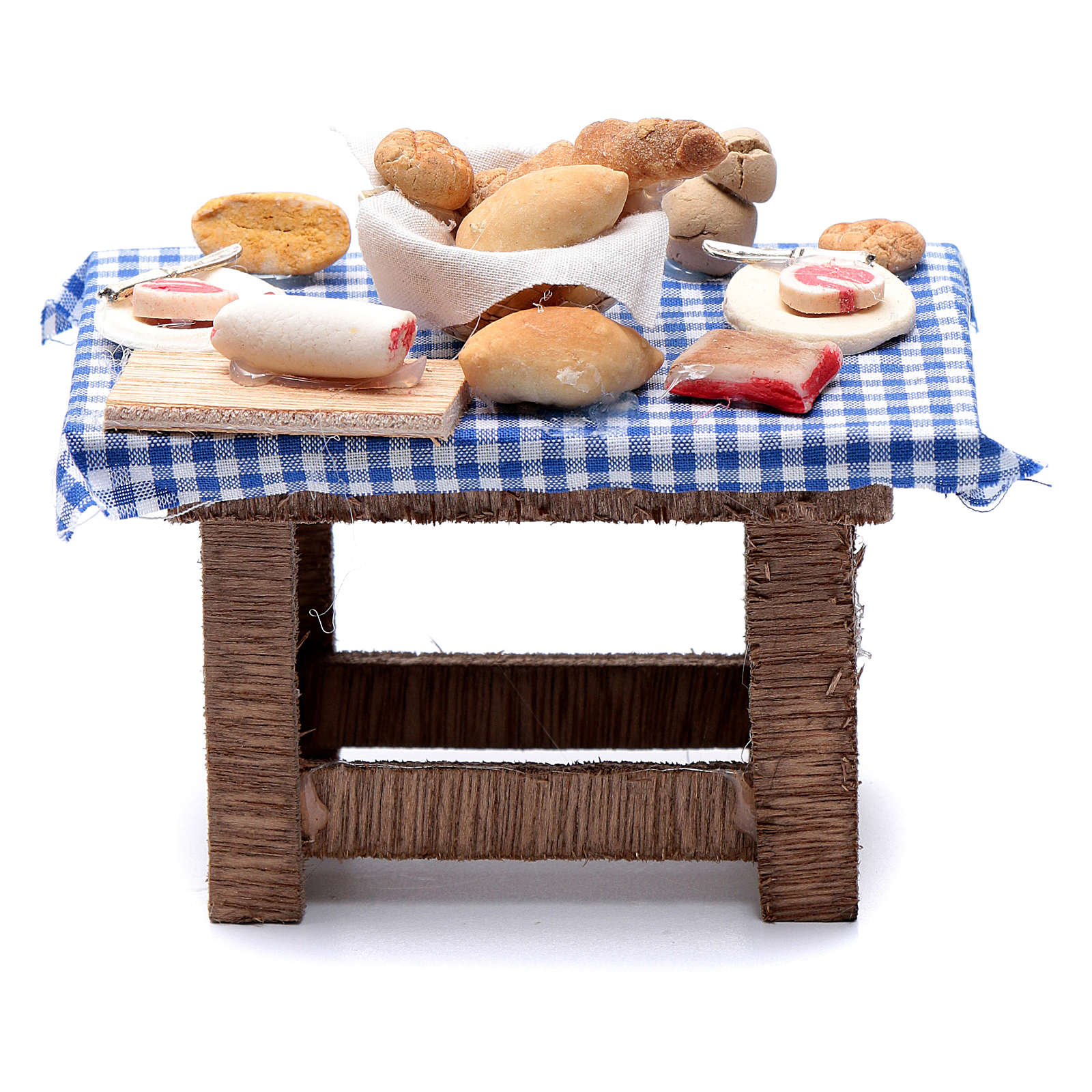 Neapolitan nativity scene table with food and chequed tablecloth 10x10x5 cm 4