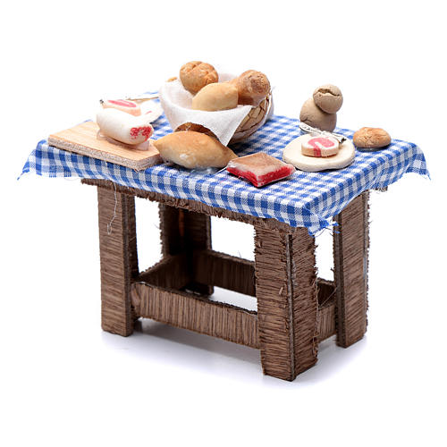 Neapolitan nativity scene table with food and chequed tablecloth 10x10x5 cm 2