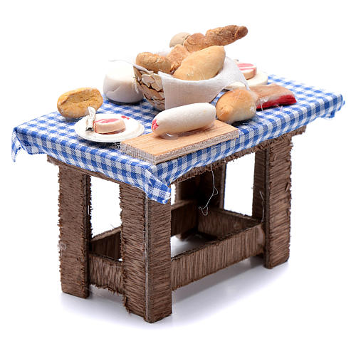 Neapolitan nativity scene table with food and chequed tablecloth 10x10x5 cm 3