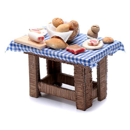 Tavolo tovaglia a quadri e cibo presepe Napoli 10x10x5 cm 2