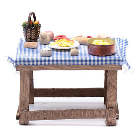 Tavolo con cibo 15x15x10 cm presepe napoletano fai da te s1