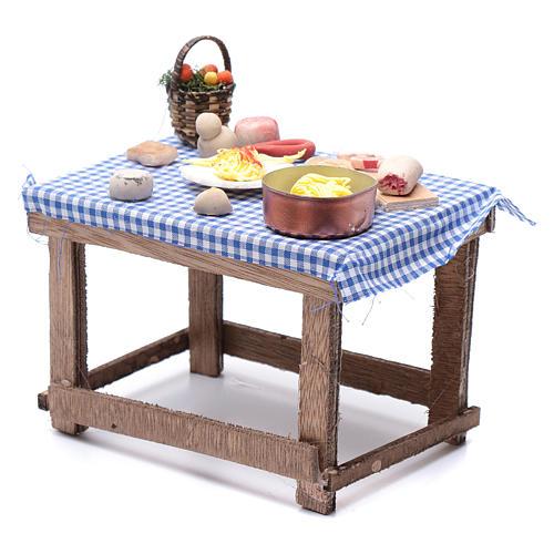 Tavolo con cibo 15x15x10 cm presepe napoletano fai da te 2