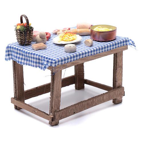 Tavolo con cibo 15x15x10 cm presepe napoletano fai da te 3