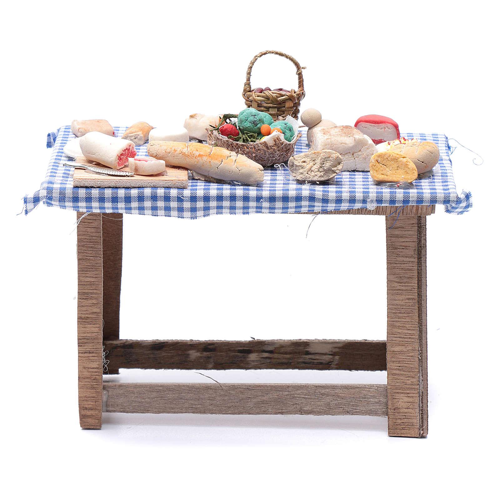 Tavolo con cibo 15x15x10 cm presepe Napoli fai da te 4