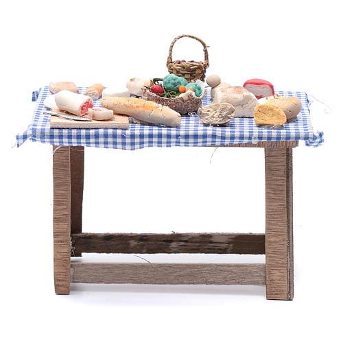 Tavolo con cibo 15x15x10 cm presepe Napoli fai da te 1