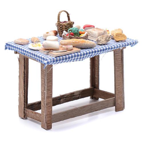 Tavolo con cibo 15x15x10 cm presepe Napoli fai da te 3