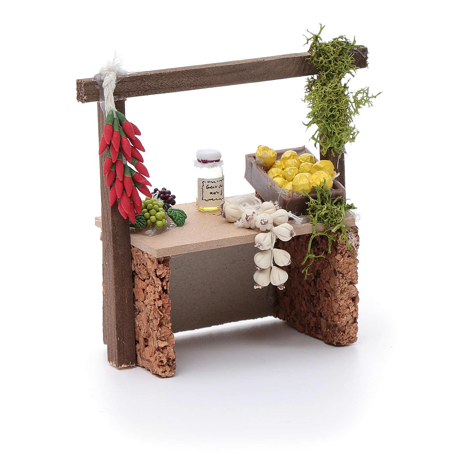 Banco aglio e peperoncino per presepe 10x10x5 cm 4
