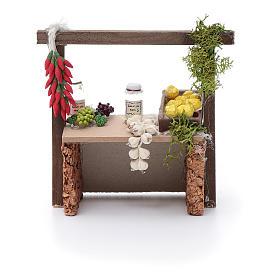 Banco aglio e peperoncino per presepe 10x10x5 cm s4