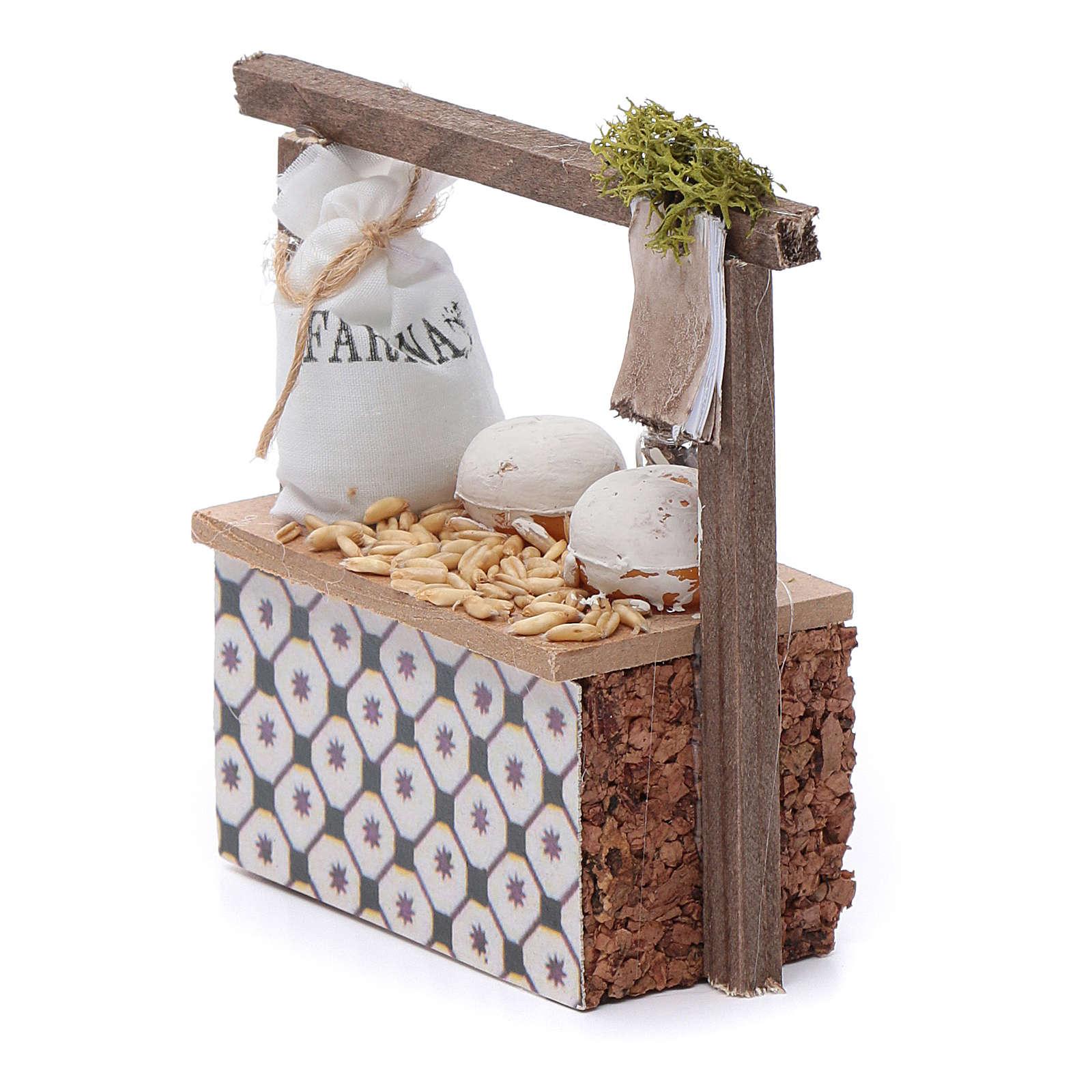 Banco farina e cereali per presepe 10x10x5 cm 4