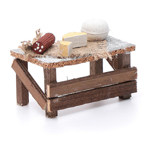 Banchetto forme formaggi e salame 10x10x5 cm per presepe 3