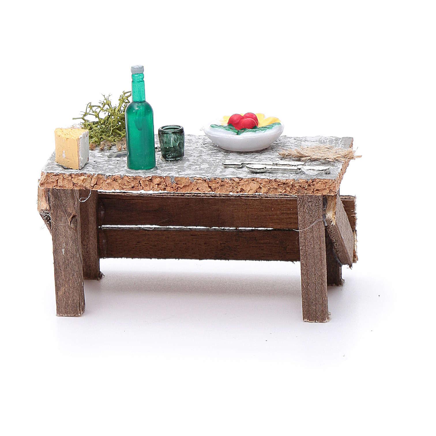 Banchetto piatto e posate 5x10x5 cm per presepe 4