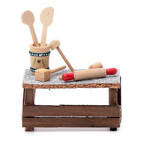 Banchetto utensili 10x10x5 cm per presepe 1