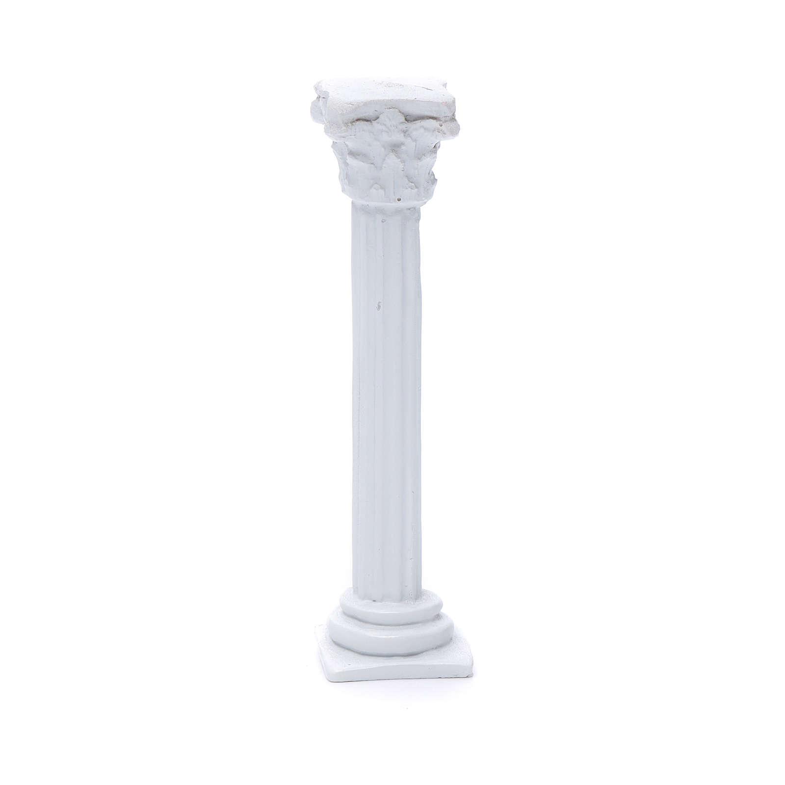 Colonna stile romano resina bianca 15 cm per presepe 4